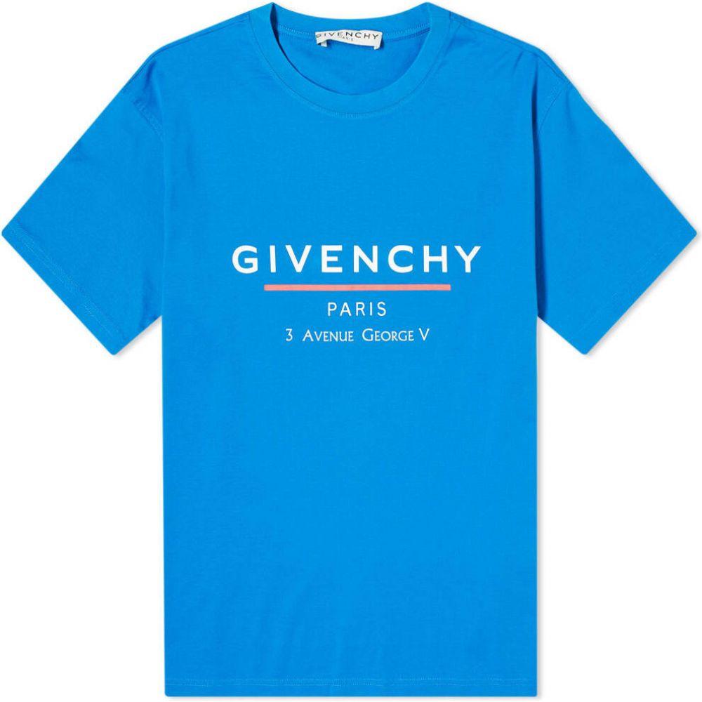 ジバンシー Givenchy メンズ Tシャツ ロゴTシャツ トップス【oversized address logo tee】Ocean Blue