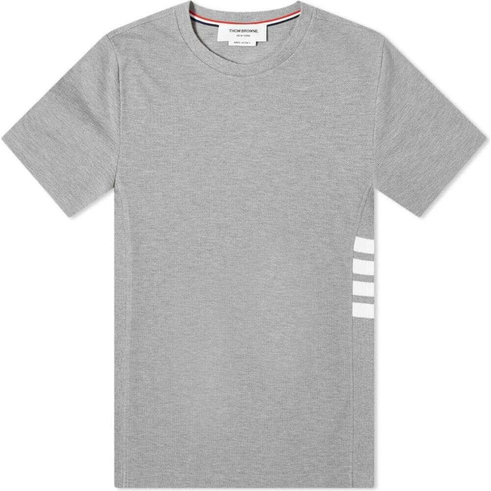 トム ブラウン Thom Browne メンズ Tシャツ トップス【side four bar pique tee】Light Grey