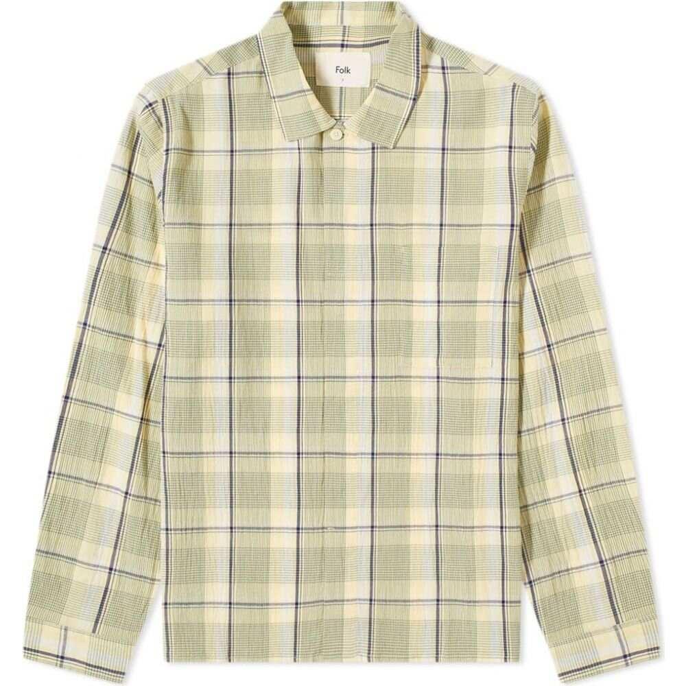 フォーク Folk メンズ シャツ トップス【patch shirt】Olive Multi Check