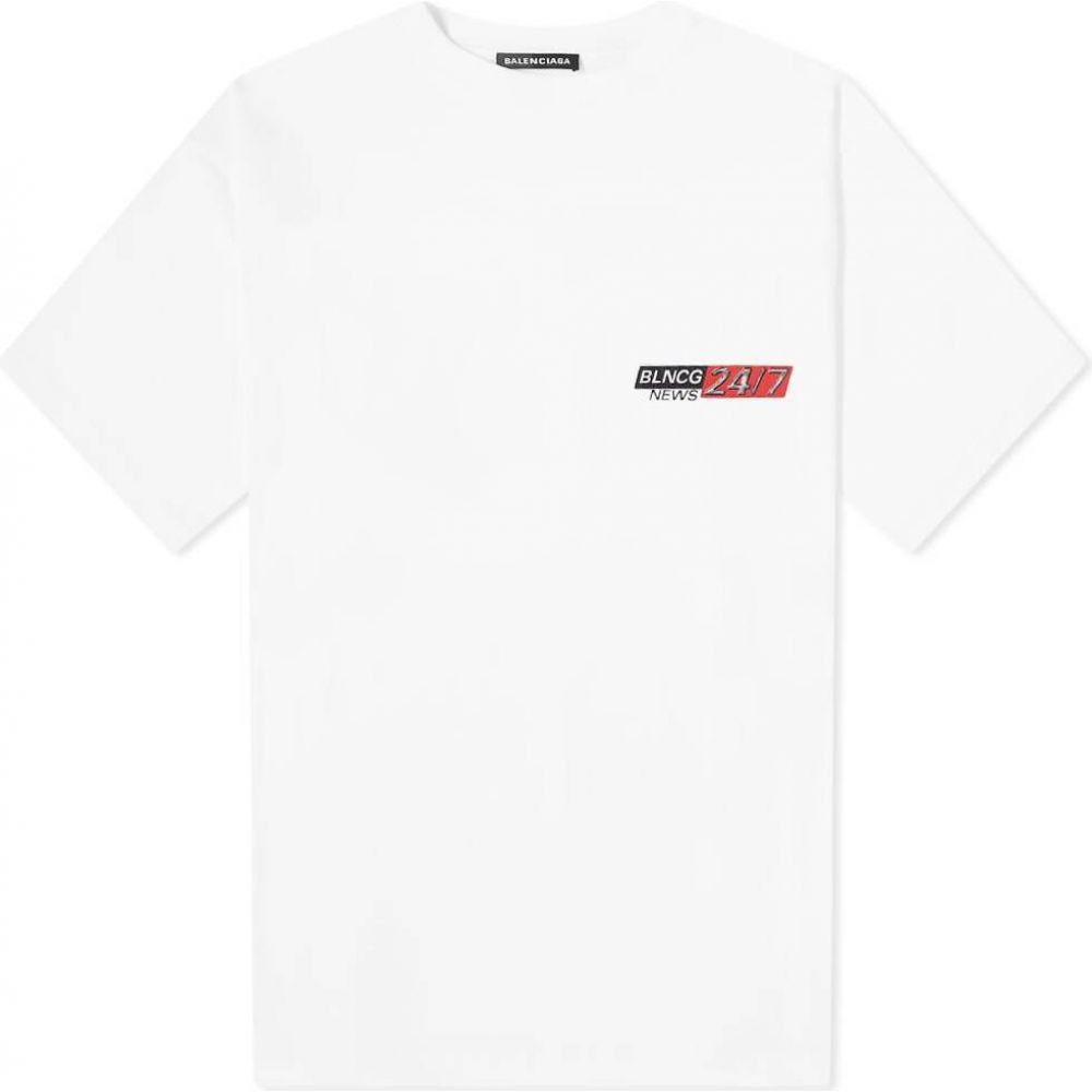 バレンシアガ Balenciaga メンズ Tシャツ ロゴTシャツ トップス【news logo print tee】White