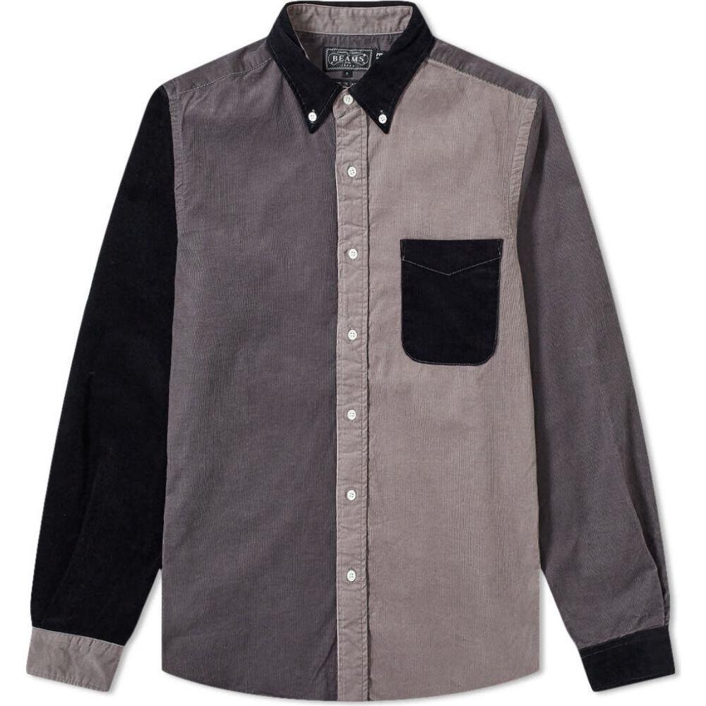 エンド END. メンズ シャツ トップス【x beams plus button down panel pattern corduroy shirt】Grey/Charcoal/Black