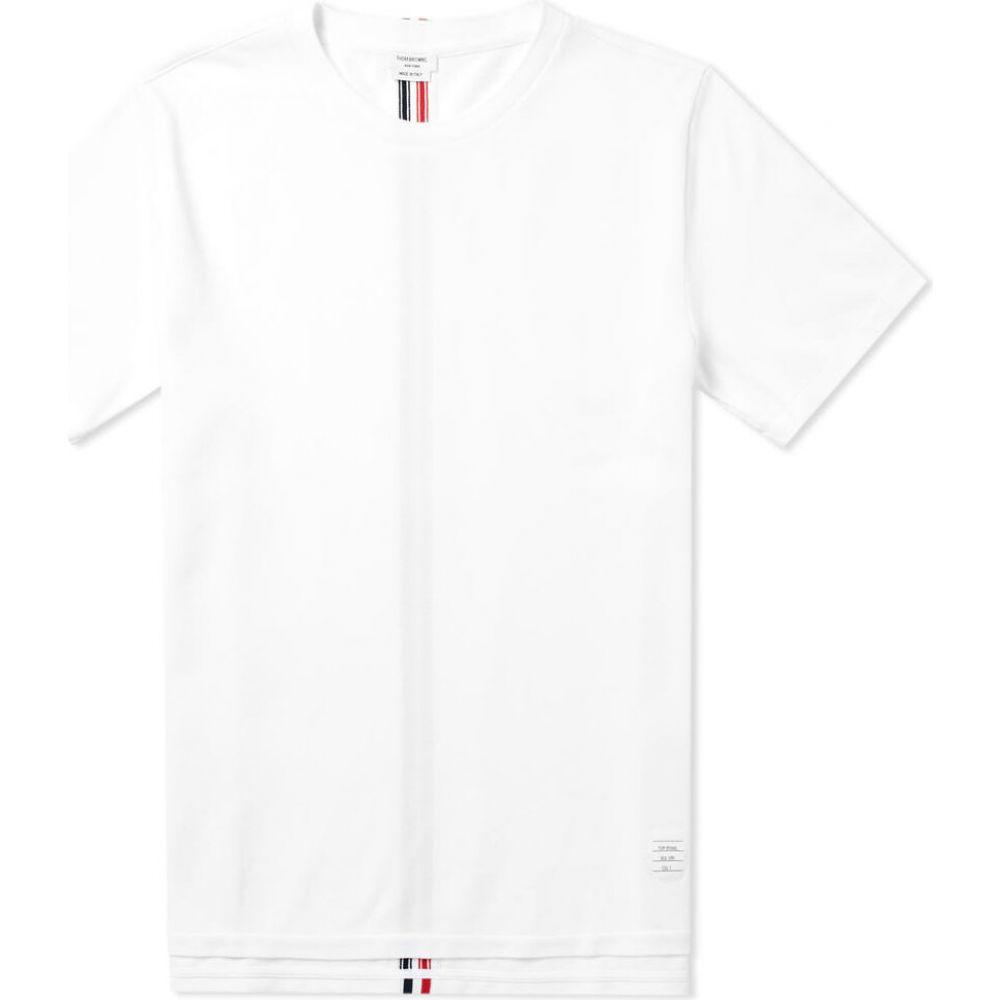 トム ブラウン Thom Browne メンズ Tシャツ トップス【back stripe pique tee】White