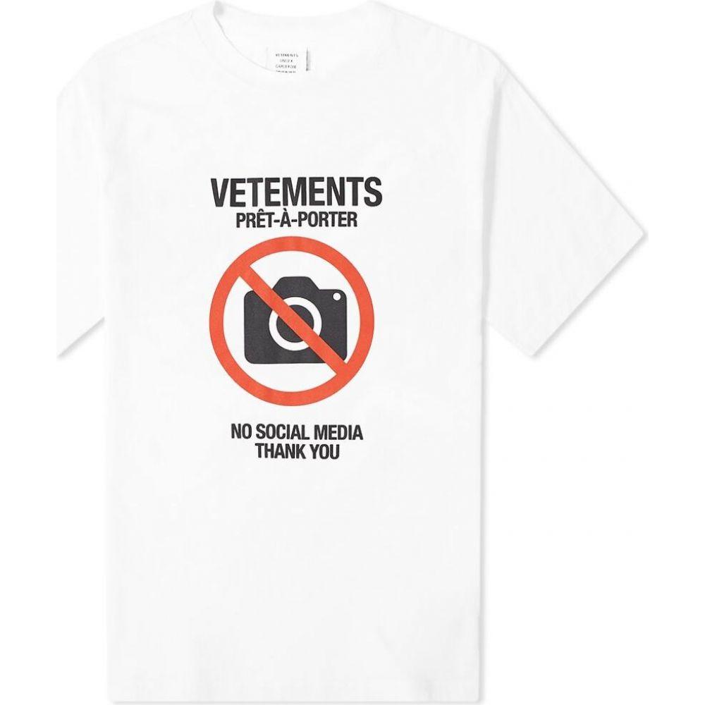 ヴェトモン VETEMENTS メンズ Tシャツ トップス【anti social tee】White