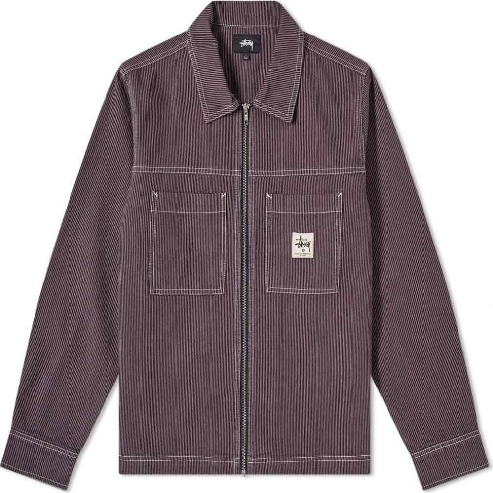 ステューシー Stussy メンズ シャツ トップス【overdyed hickory zip shirt】Purple