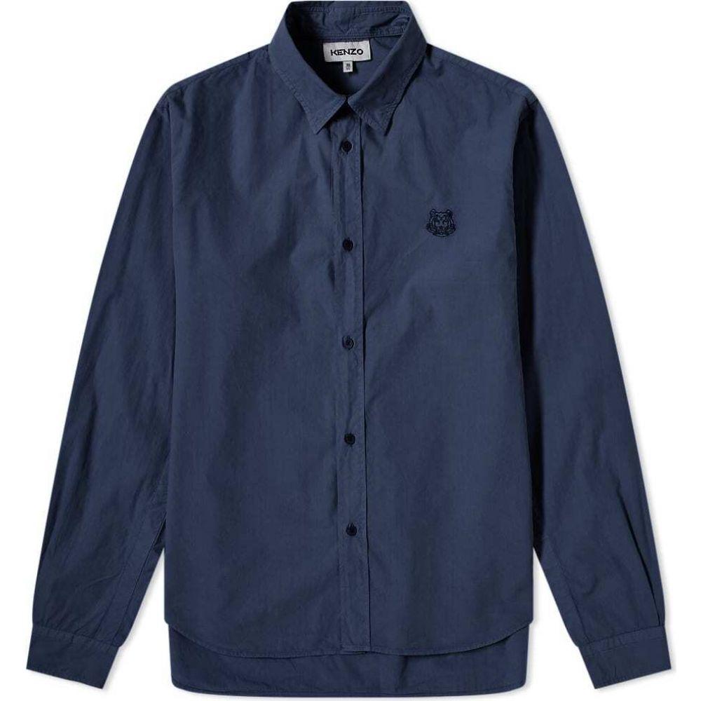 ケンゾー Kenzo メンズ シャツ トップス【tiger crest poplin shirt】Navy Blue