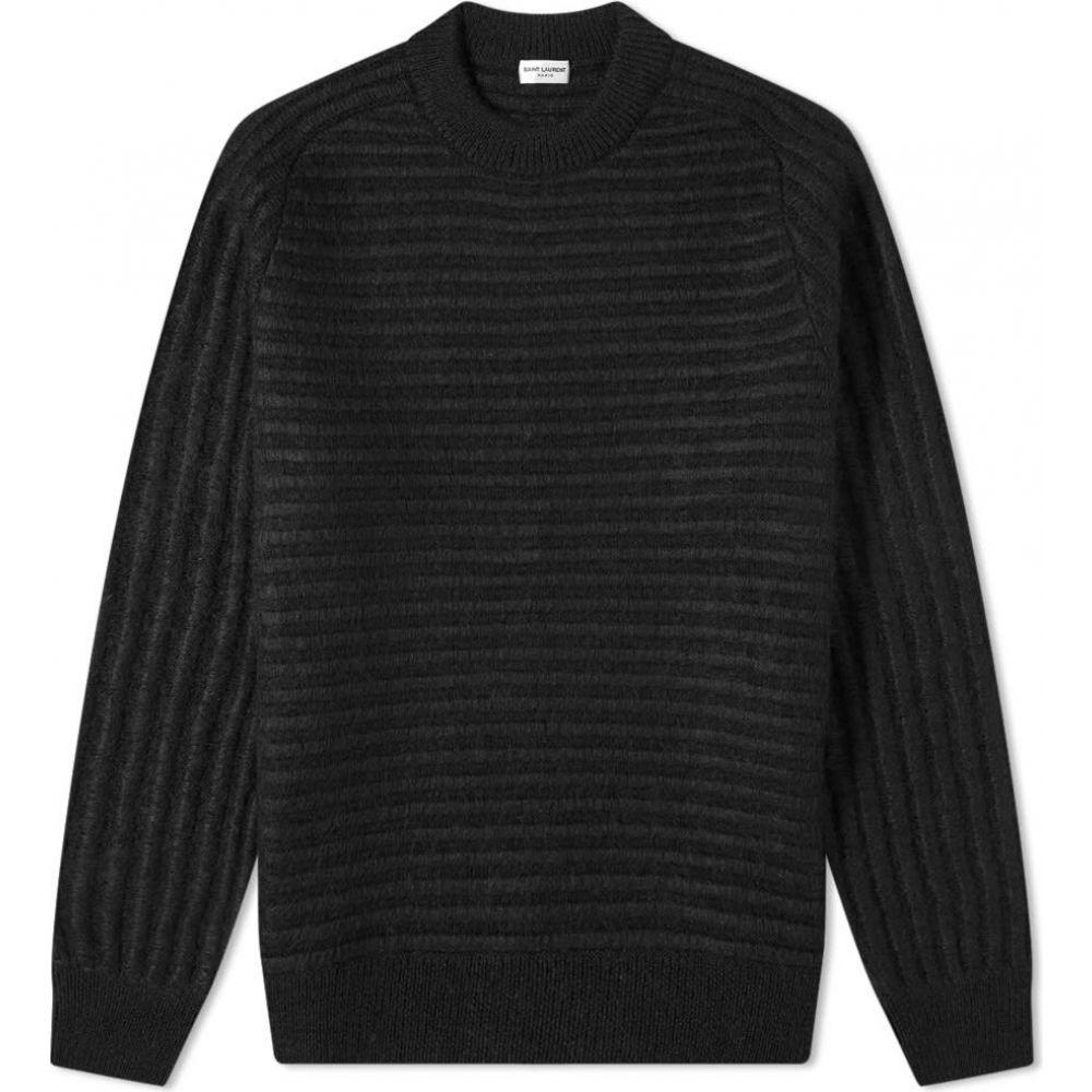 イヴ サンローラン Saint Laurent メンズ ニット・セーター トップス【ribbed crew knit】Black