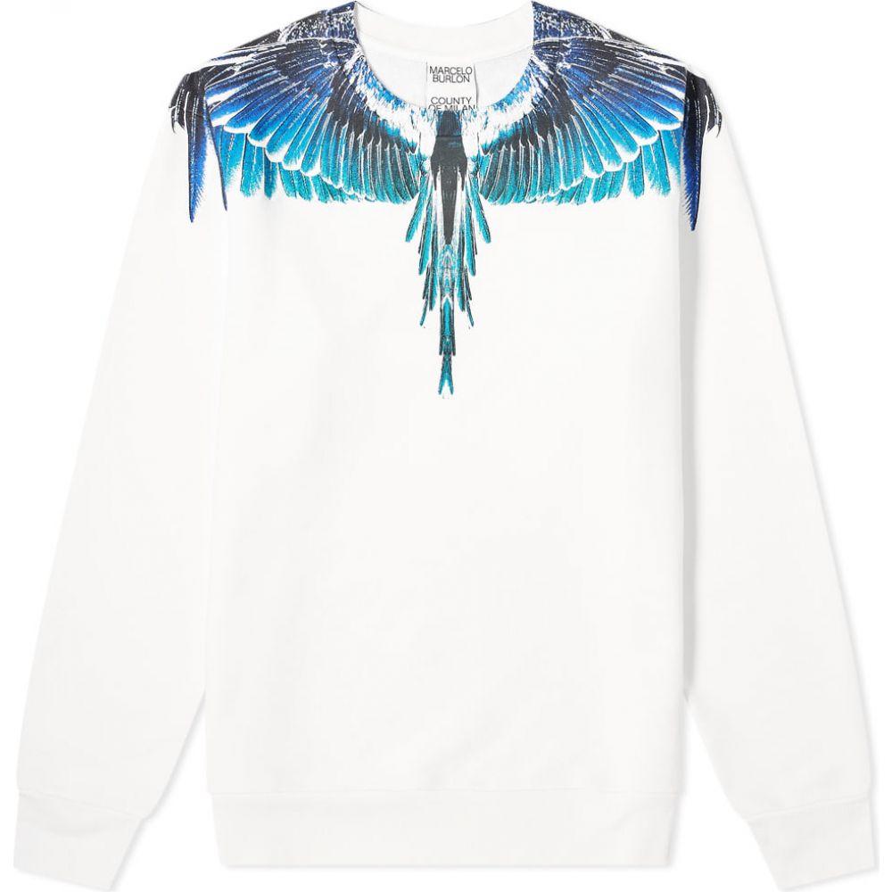 マルセロバーロン Marcelo Burlon メンズ スウェット・トレーナー トップス【wings crew sweat】White/Turquoise