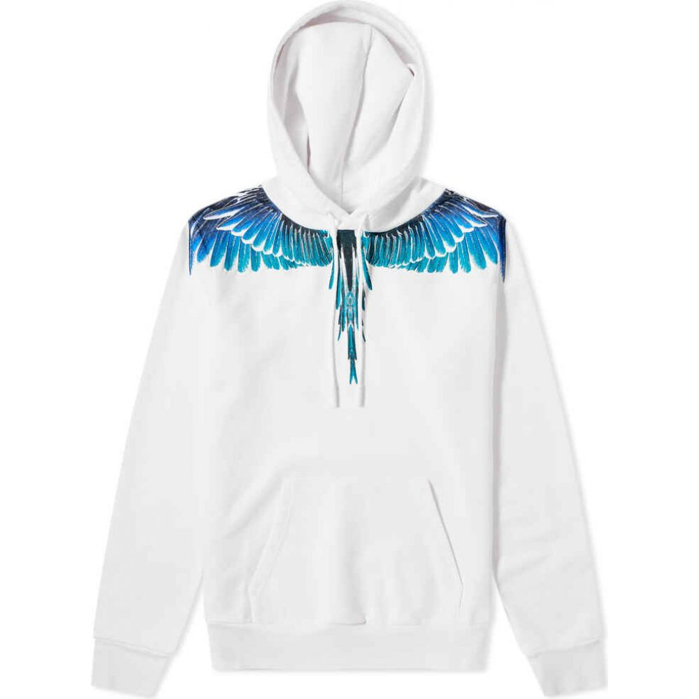 マルセロバーロン Marcelo Burlon メンズ パーカー トップス【classic wings hoody】White/Turquoise