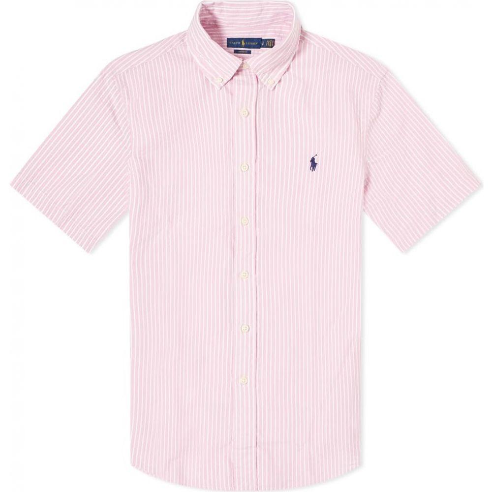 ラルフ ローレン Polo Ralph Lauren メンズ 半袖シャツ トップス【short sleeve slim fit striped seersucker shirt】Pink/White