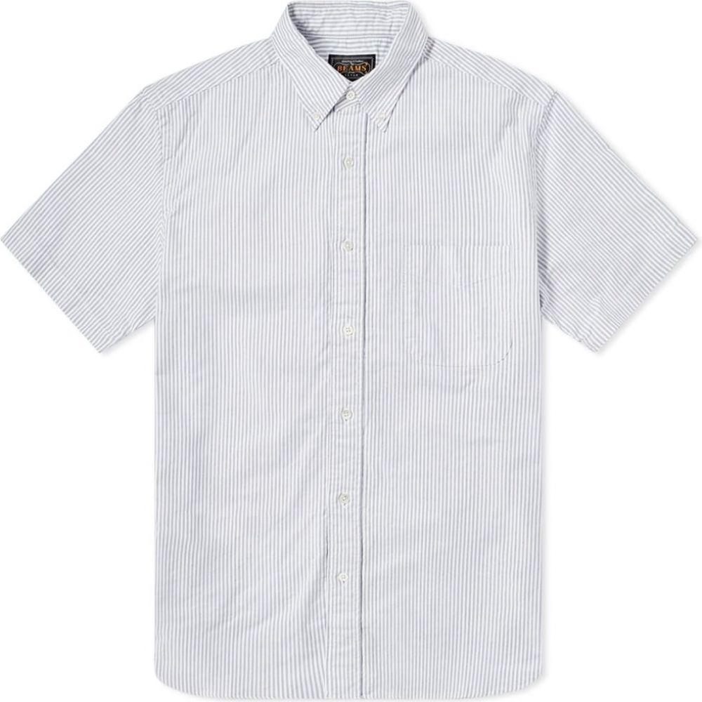 ビームス プラス Beams Plus メンズ 半袖シャツ トップス【short sleeve oxford shirt】Blue Candy Stripe