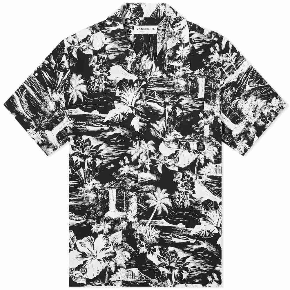 ヴァンキッシュ Vanquish メンズ 半袖シャツ トップス【tropical print open collar shirt】Black