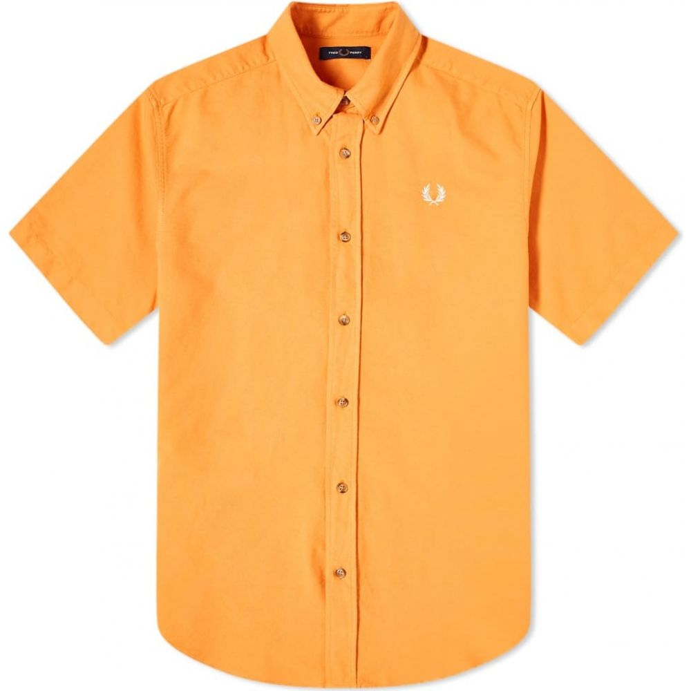 フレッドペリー Fred Perry Authentic メンズ 半袖シャツ トップス【short sleeve overdye shirt】Flame Orange