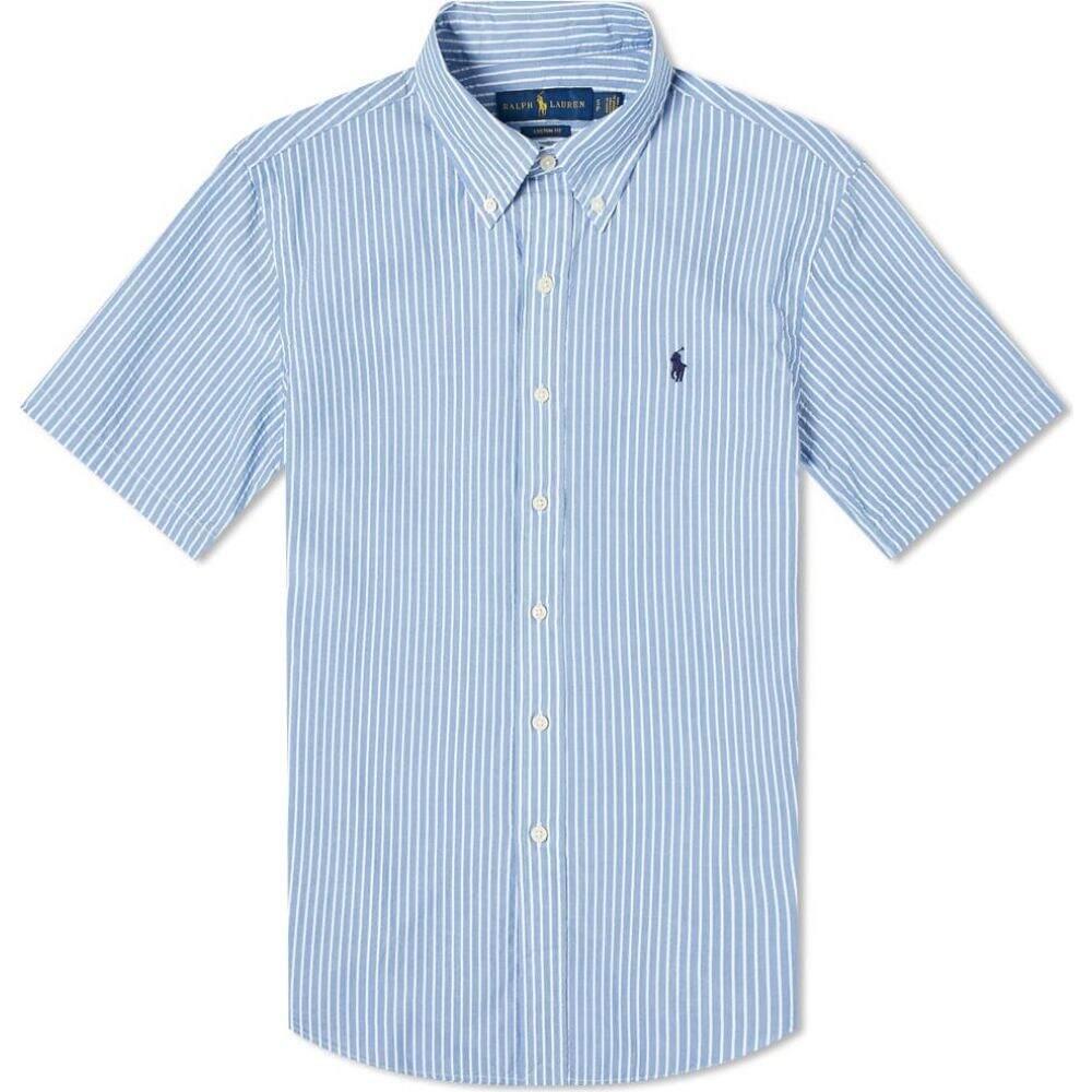 ラルフ ローレン Polo Ralph Lauren メンズ 半袖シャツ トップス【short sleeve slim fit striped seersucker shirt】Light Blue/White