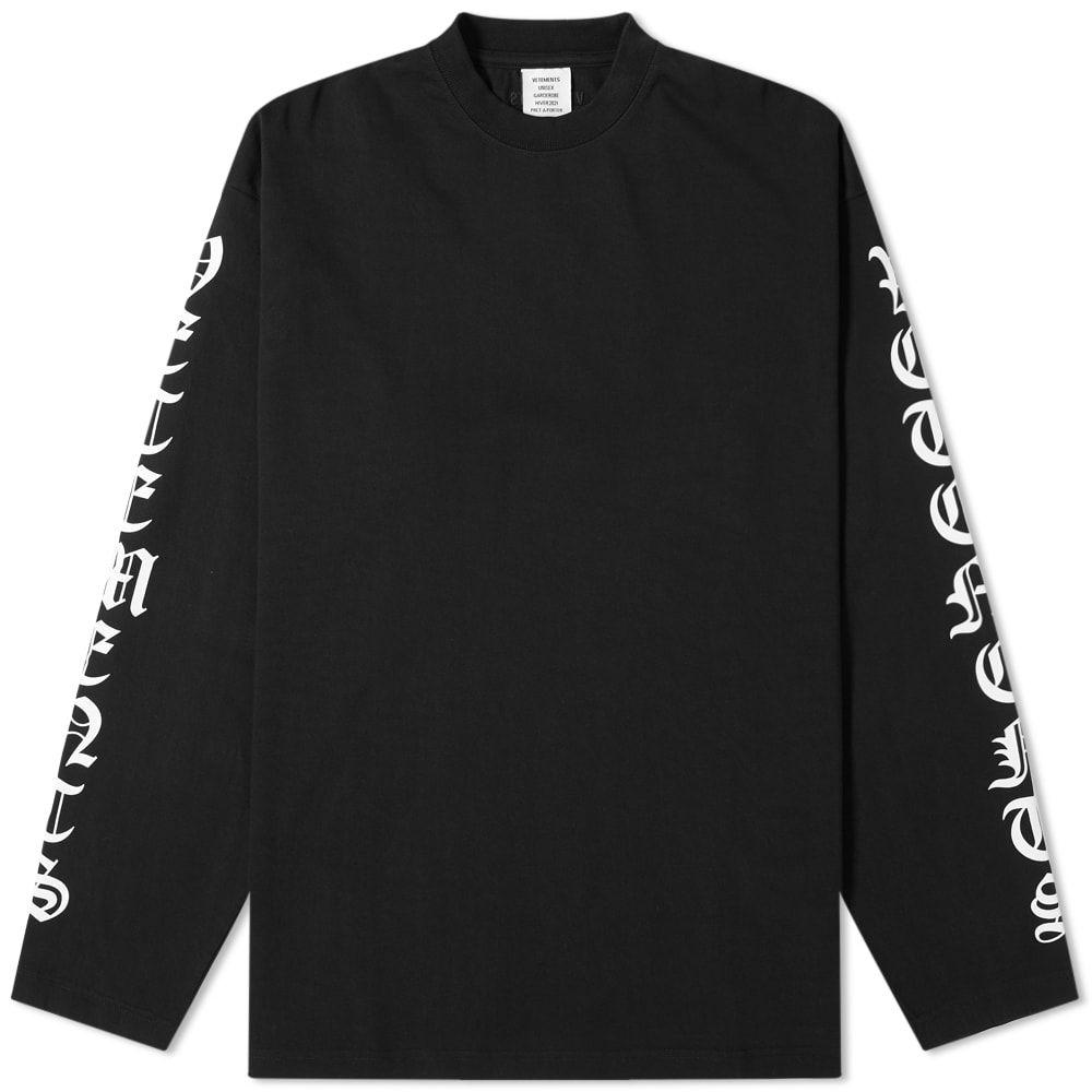 ヴェトモン VETEMENTS メンズ 長袖Tシャツ トップス【long sleeve gothic font oversized tee】Black