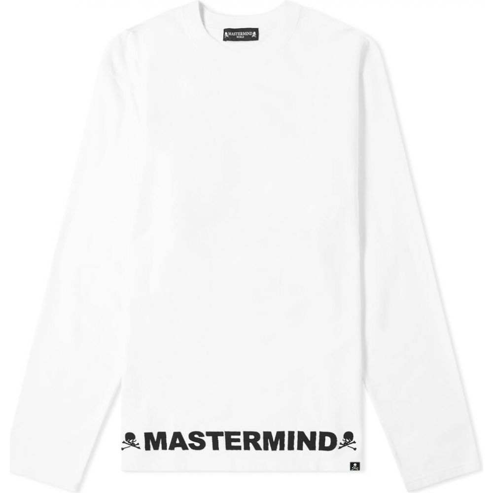 マスターマインド MASTERMIND WORLD メンズ 長袖Tシャツ トップス【long sleeve opal skull cut & sew crew tee】White