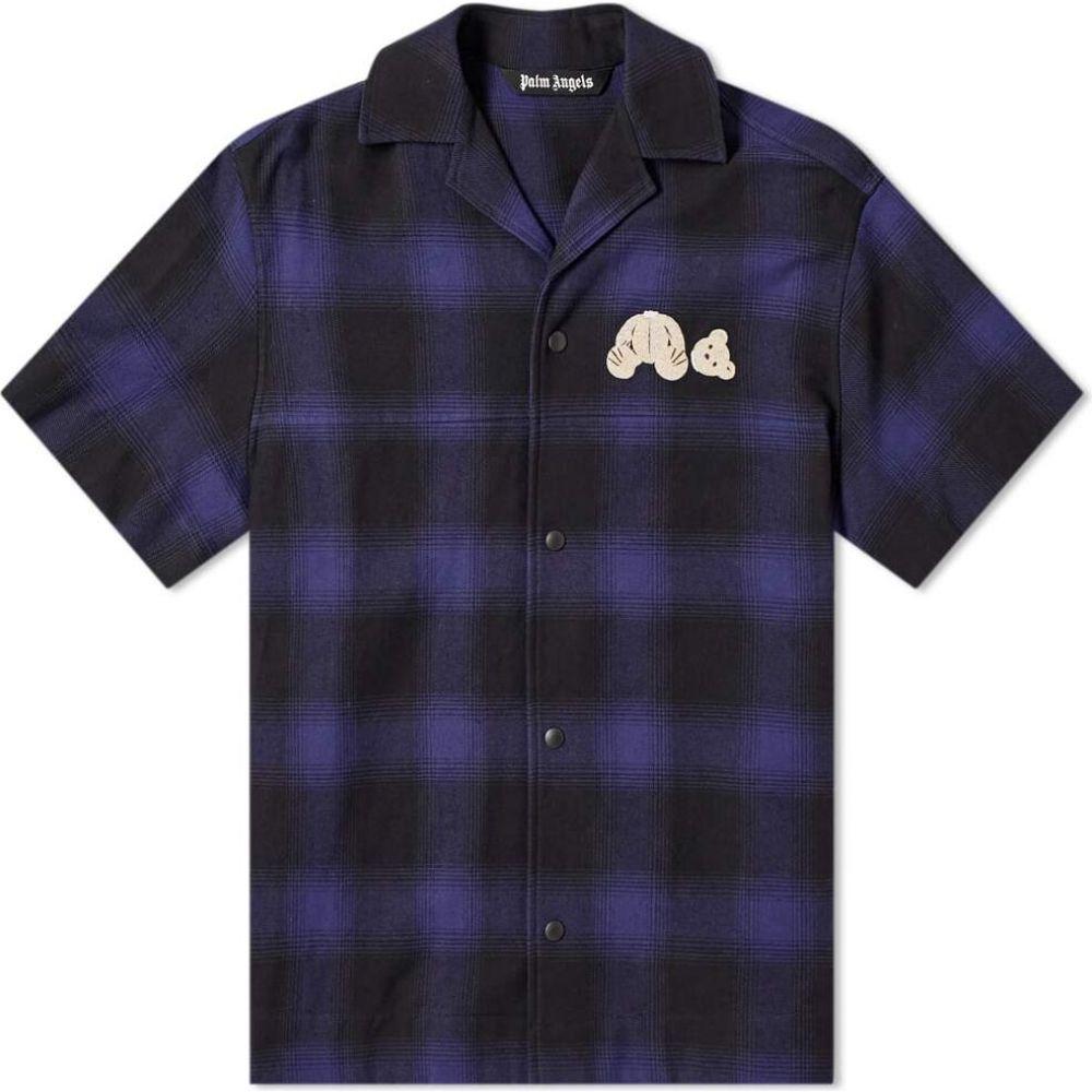 パーム エンジェルス Palm Angels メンズ 半袖シャツ トップス【kill the bear back logo vacation shirt】Blue/Black