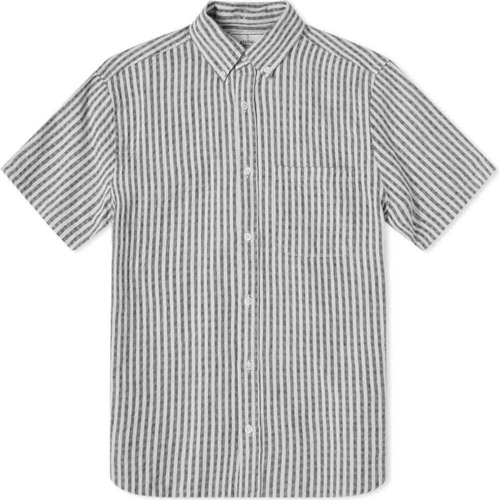 ポーチュギースフランネル Portuguese Flannel メンズ 半袖シャツ トップス【beach cabin button down short sleeve shirt】Vintage Black