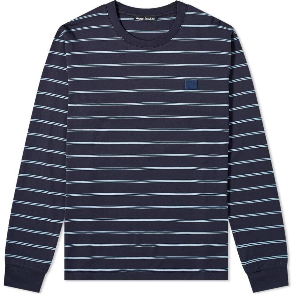 アクネ ストゥディオズ Acne Studios メンズ 長袖Tシャツ トップス【elwood stripe face long sleeve tee】Navy Blue