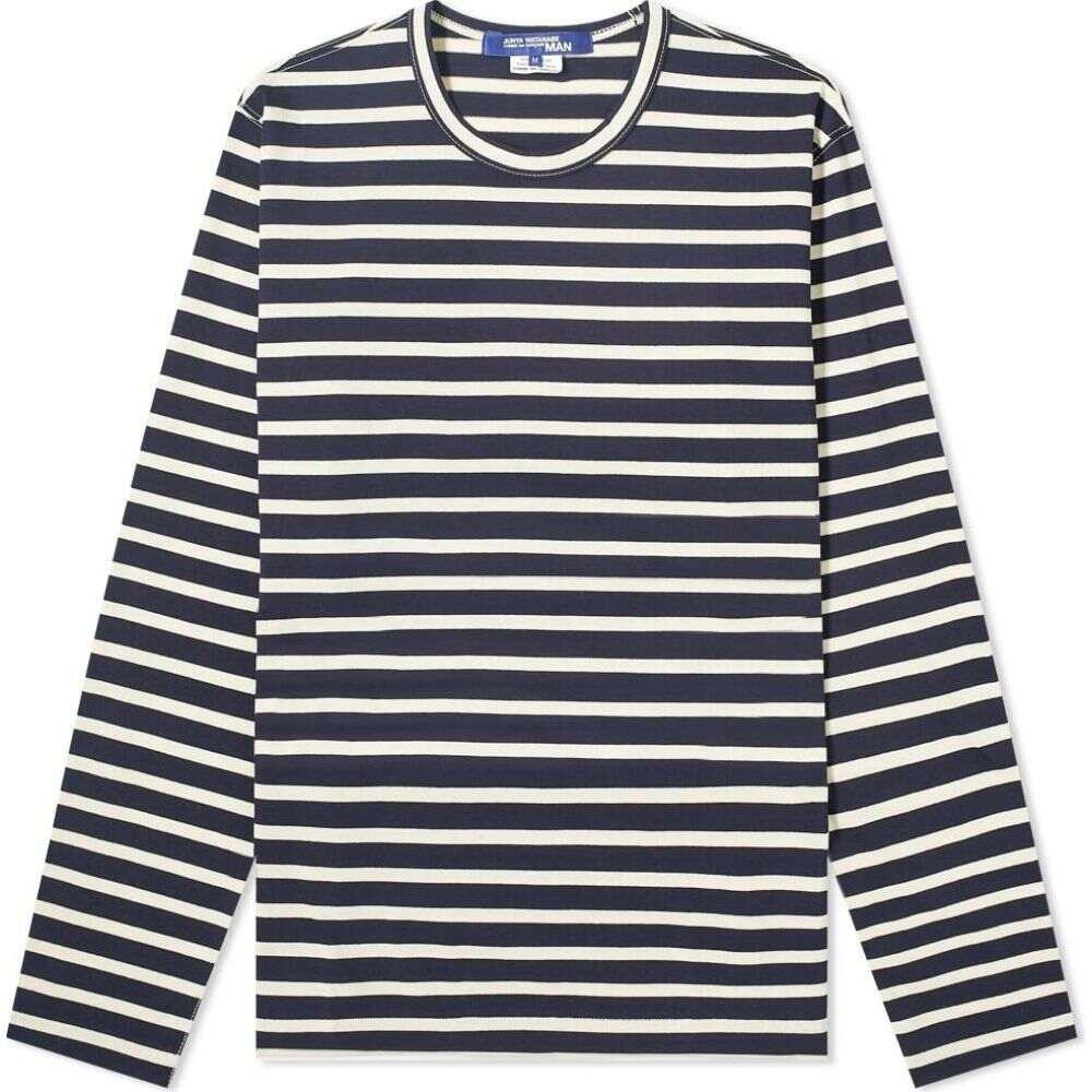 ジュンヤ ワタナベ Junya Watanabe MAN メンズ 長袖Tシャツ トップス【long sleeve stripe tee】White/Navy
