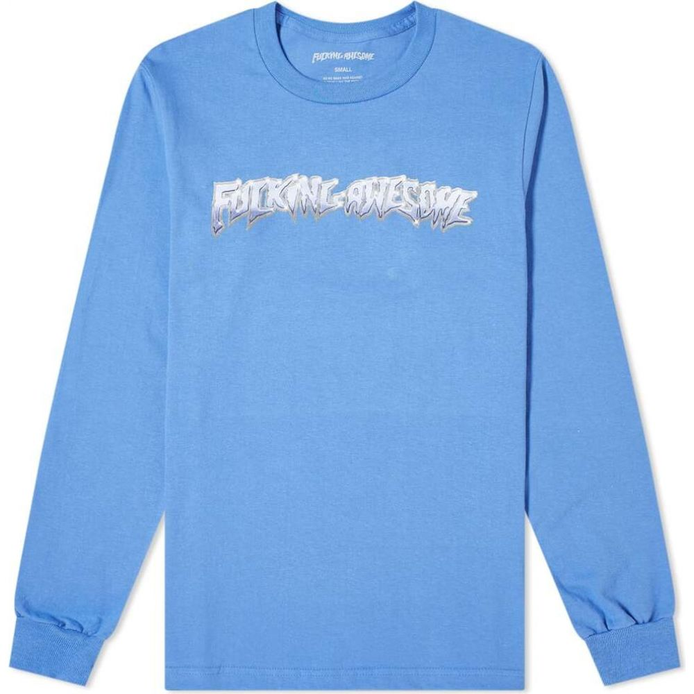 ファッキングオーサム Fucking Awesome メンズ 長袖Tシャツ トップス【long sleeve chrome tee】Flo Blue