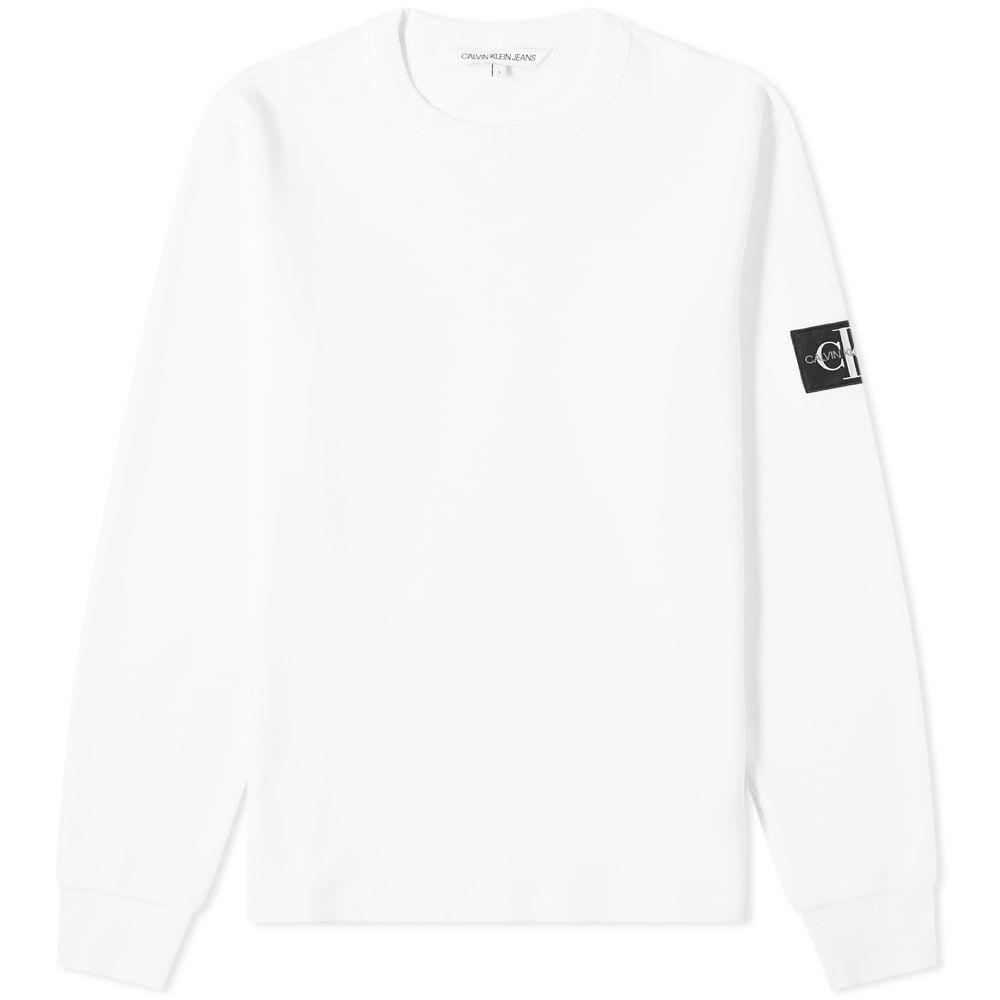 カルバンクライン Calvin Klein メンズ 長袖Tシャツ トップス【long sleeve monogram badge tee】White