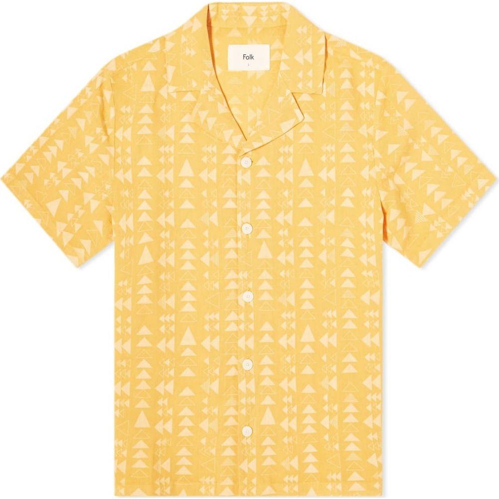 フォーク Folk メンズ 半袖シャツ トップス【tile print vacation shirt】Tile Print Marigold