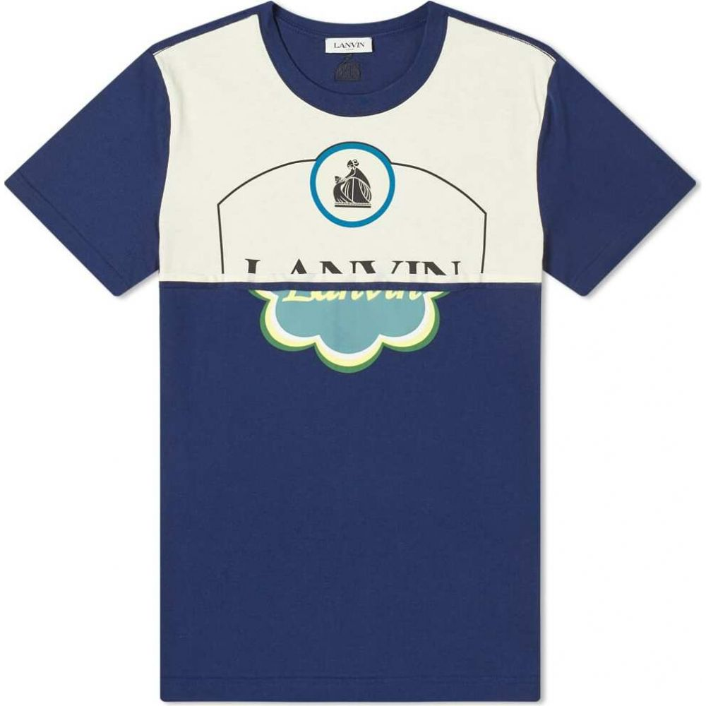 ランバン Lanvin メンズ Tシャツ トップス【cut & sew printed tee】Navy