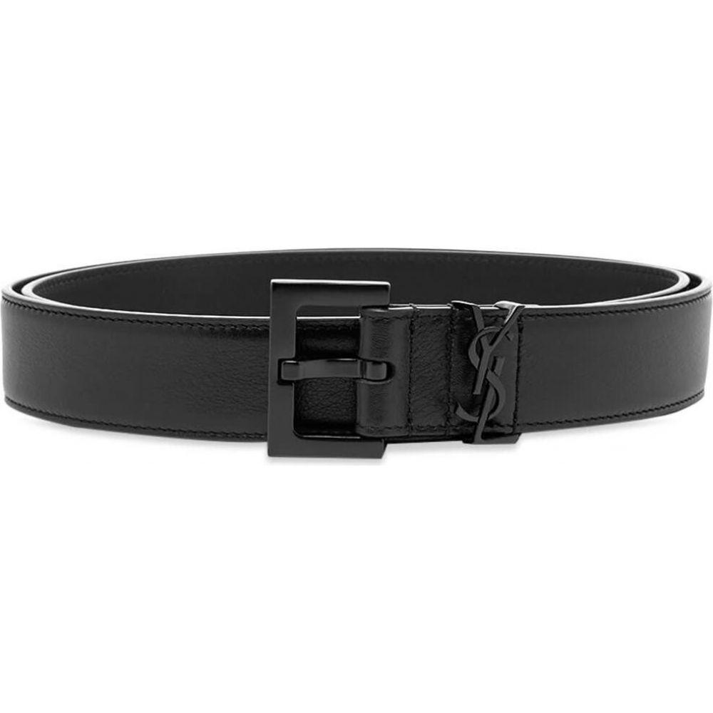 イヴ サンローラン Saint Laurent メンズ ベルト 【metal logo leather belt】Black
