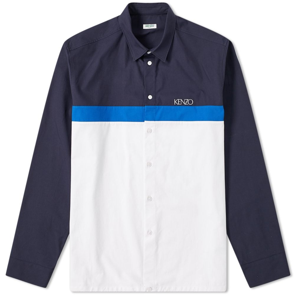 ケンゾー Kenzo メンズ シャツ トップス【casual drawstring shirt】White/Blue/Navy