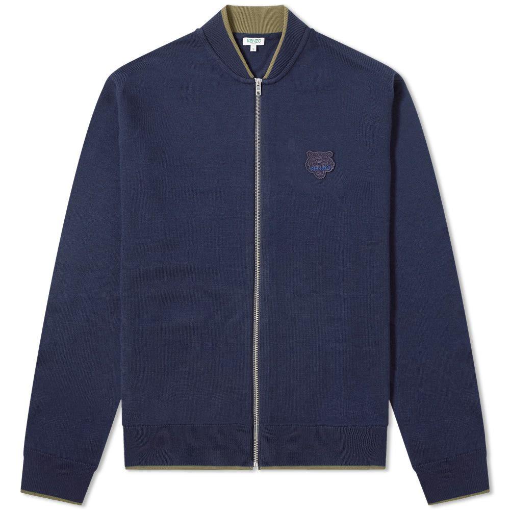 ケンゾー Kenzo メンズ カーディガン トップス【tiger zip knit cardigan】Navy Blue
