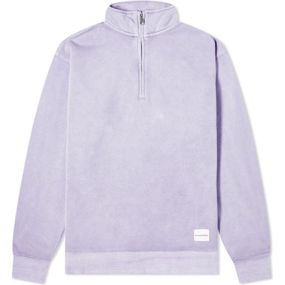 エムケーアイ MKI メンズ スウェット・トレーナー ハーフジップ トップス【pigment dyed quarter zip sweat】Lavender