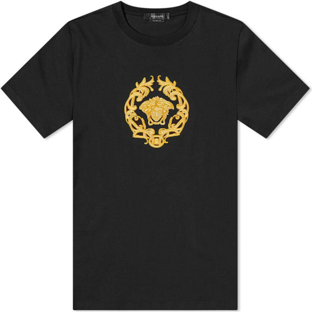 <title>ヴェルサーチ 上品 メンズ トップス Tシャツ Black サイズ交換無料 Versace メデューサ embroidered medusa tee</title>