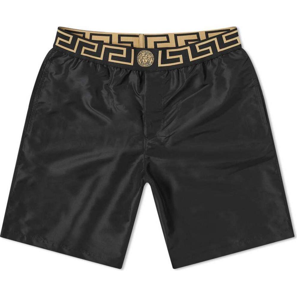 ヴェルサーチ Versace メンズ 海パン 水着・ビーチウェア【greek logo swimshort】Black/Gold