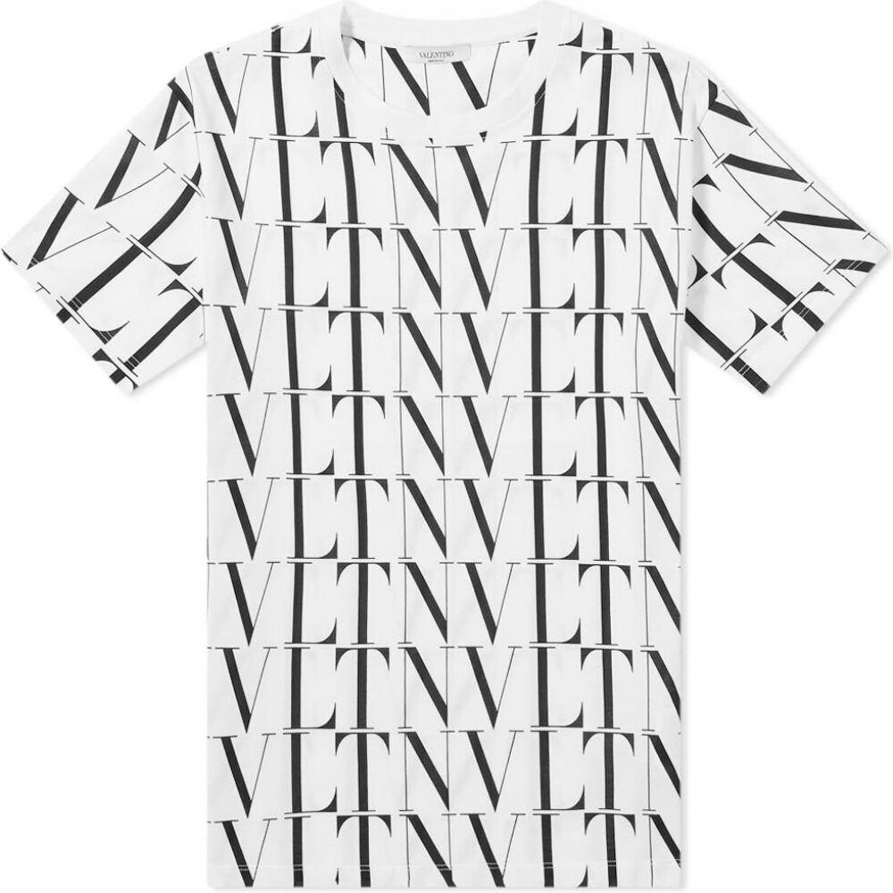 ヴァレンティノ Valentino メンズ Tシャツ ロゴTシャツ トップス【vltn all over logo tee】White/Black