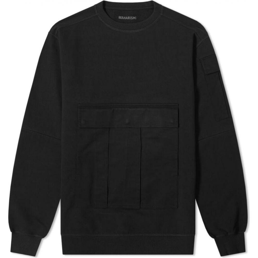 マハリシ Maharishi メンズ スウェット・トレーナー トップス【zip sleeve crew sweat】Black