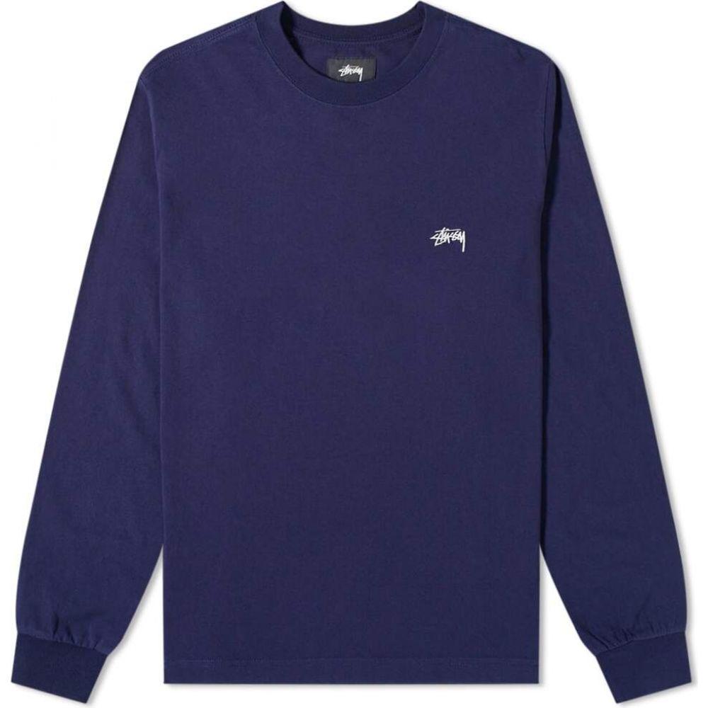 ステューシー Stussy メンズ 長袖Tシャツ ロゴTシャツ トップス【Long Sleeve Stock Logo Tee】Midnight