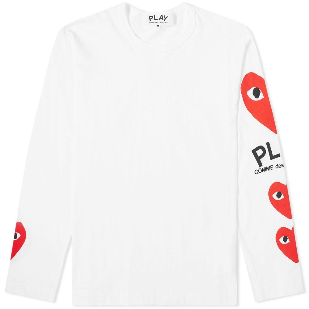 コム デ ギャルソン Comme des Garcons Play メンズ 長袖Tシャツ トップス【long sleeve multi heart tee】White