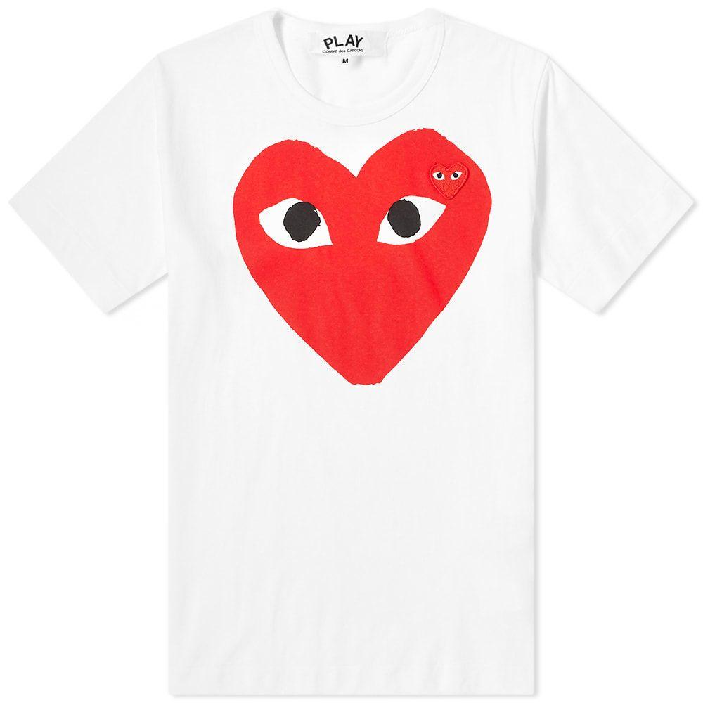 コム デ ギャルソン Comme des Garcons Play メンズ Tシャツ ロゴTシャツ トップス【large double heart logo tee】White/Red