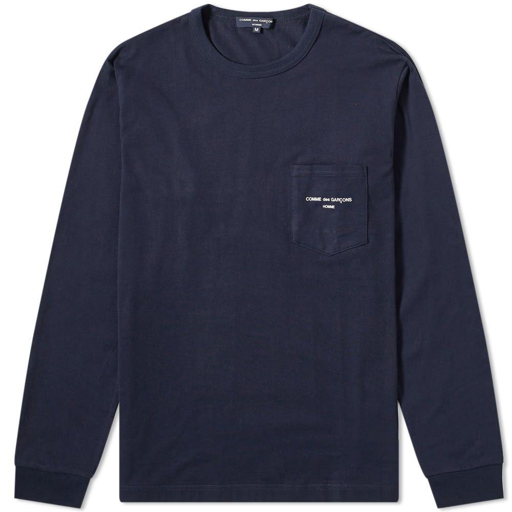 コム デ ギャルソン Comme des Garcons Homme メンズ 長袖Tシャツ ロゴTシャツ トップス【long sleeve logo tee】Navy