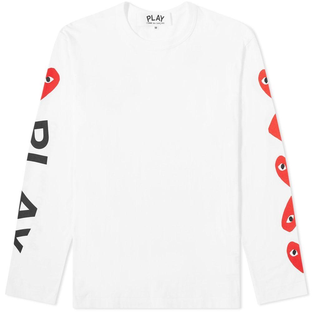 コム デ ギャルソン Comme des Garcons Play メンズ 長袖Tシャツ トップス【long sleeve multi heart &logo tee】White