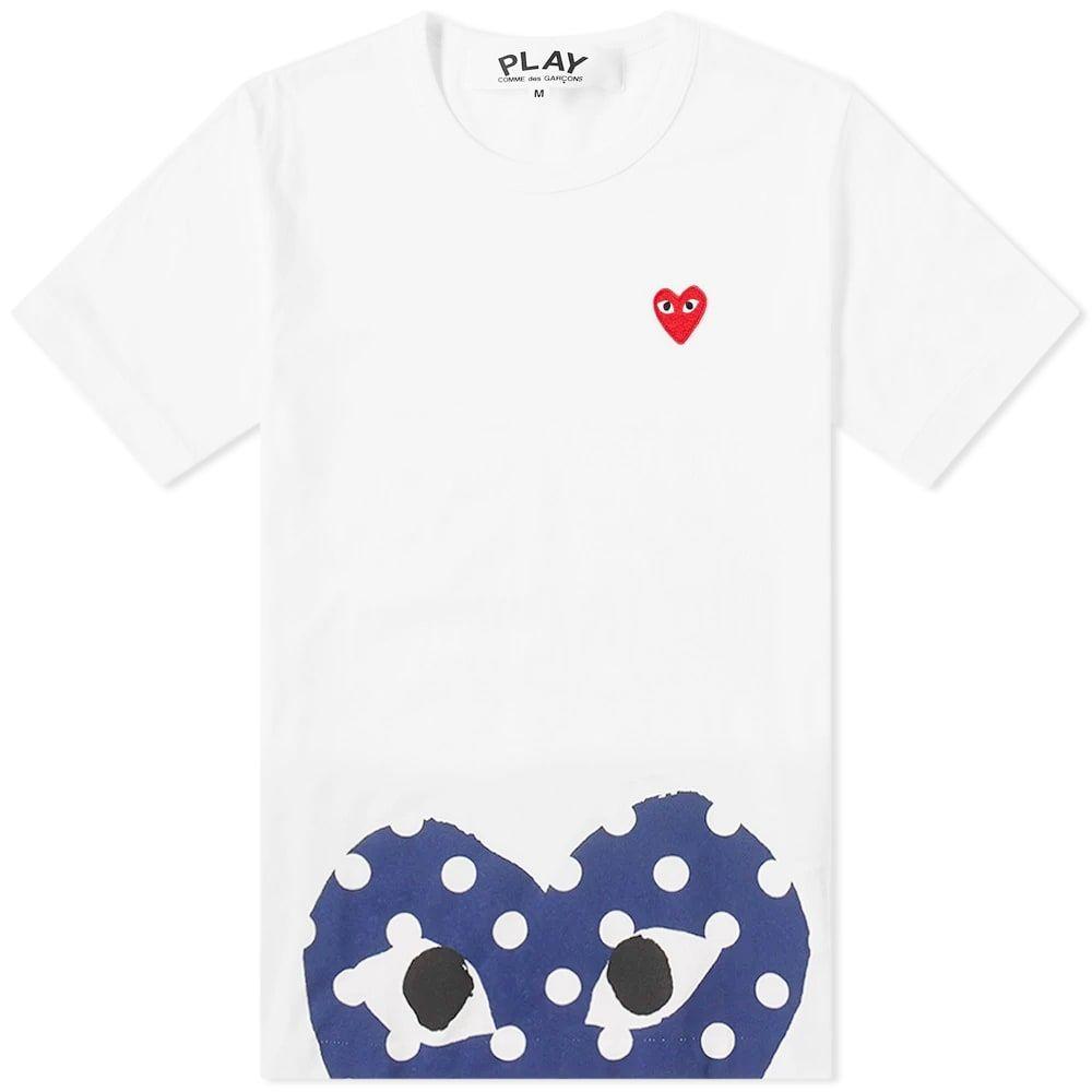 コム デ ギャルソン Comme des Garcons Play メンズ Tシャツ トップス【polka dot hem heart tee】White/Navy