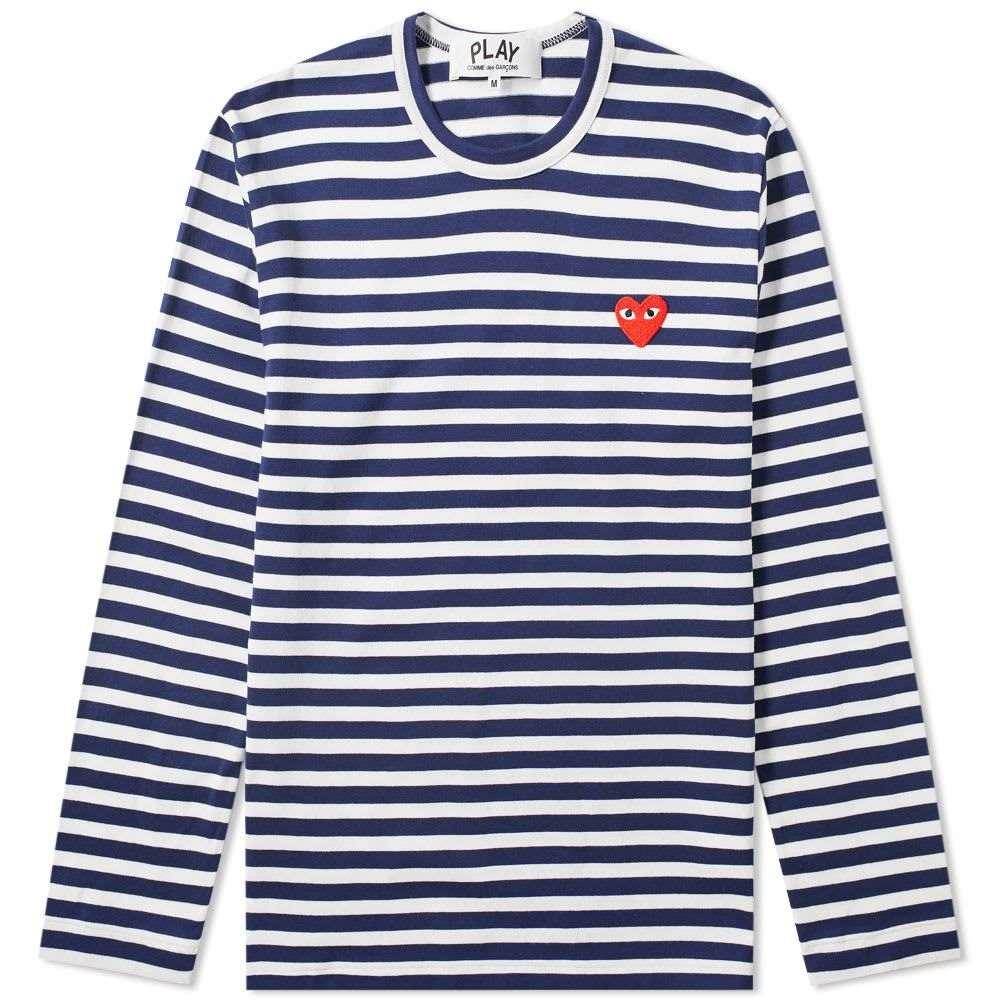 コム デ ギャルソン Comme des Garcons Play メンズ 長袖Tシャツ ロゴTシャツ トップス【long sleeve heart logo stripe tee】Navy/White