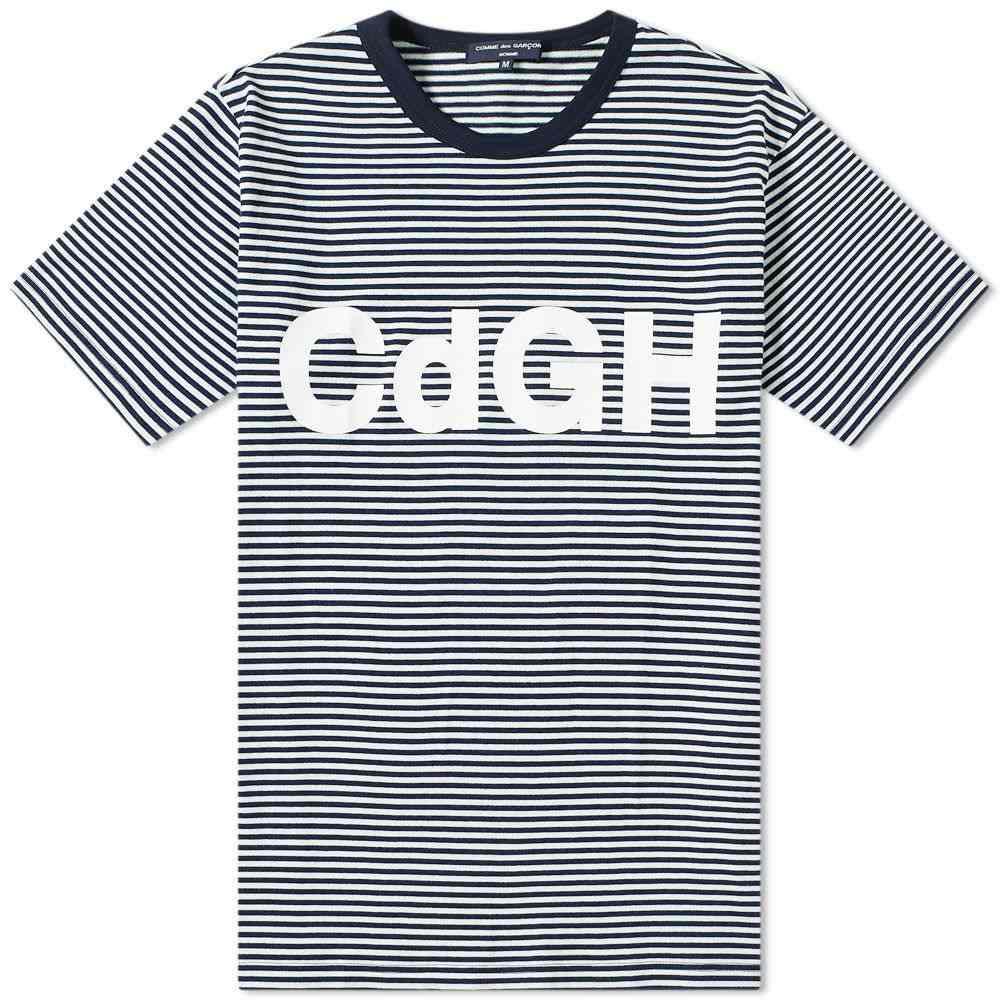 コム デ ギャルソン Comme des Garcons Homme メンズ Tシャツ ロゴTシャツ トップス【stripe logo tee】Navy/Off White/White