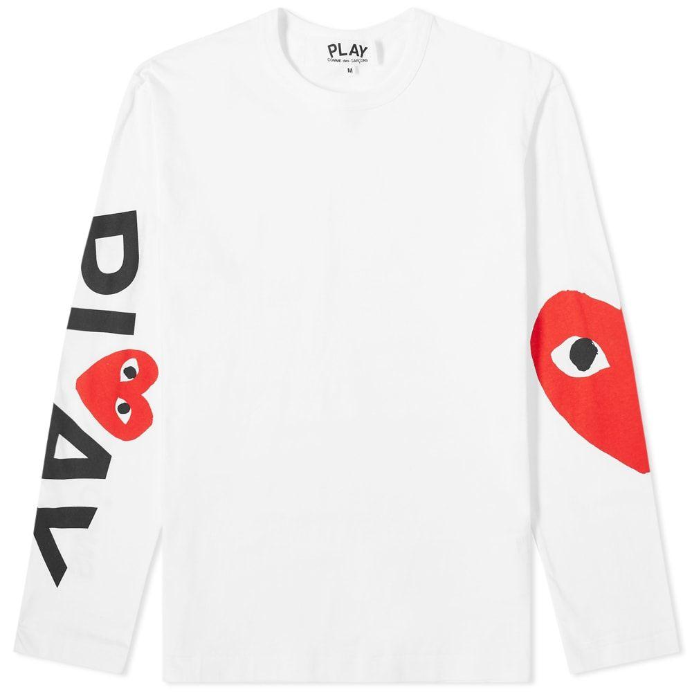 コム デ ギャルソン Comme des Garcons Play メンズ 長袖Tシャツ ロゴTシャツ トップス【long sleeve arm logo & heart tee】White