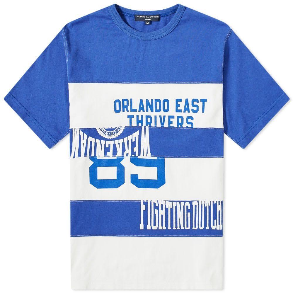 コム デ ギャルソン Comme des Garcons Homme メンズ Tシャツ トップス【patchwork collegiate tee】Blue/White