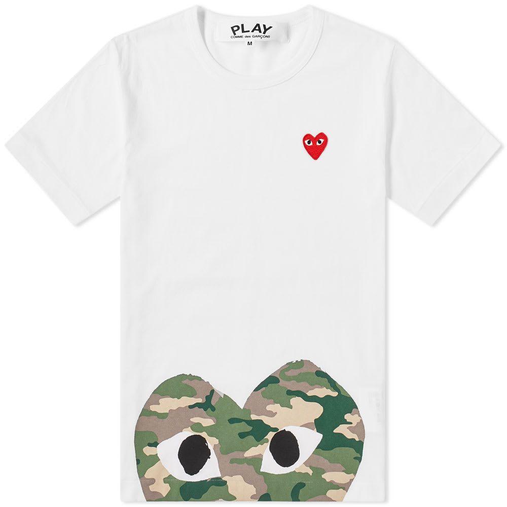 コム デ ギャルソン Comme des Garcons Play メンズ Tシャツ トップス【hem print heart tee】White/Camo
