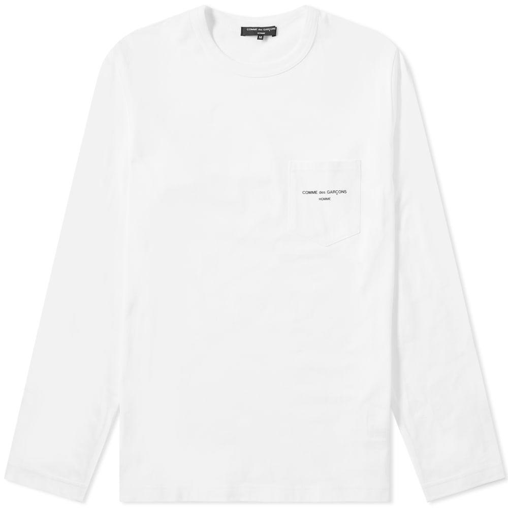 コム デ ギャルソン Comme des Garcons Homme メンズ 長袖Tシャツ ポケット ロゴTシャツ トップス【long sleeve logo pocket tee】White