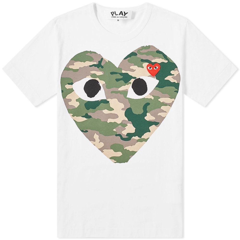 コム デ ギャルソン Comme des Garcons Play メンズ Tシャツ トップス【heart tee】White/Camo