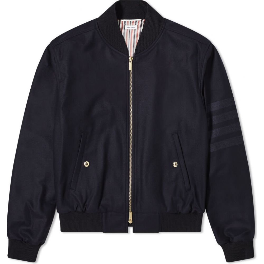 トム ブラウン Thom Browne メンズ ブルゾン ミリタリージャケット アウター【Four Bar Flannel Bomber Jacket】Navy