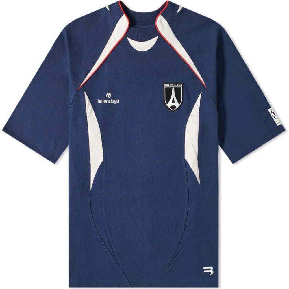 バレンシアガ Balenciaga メンズ サッカー ジャージ トップス【Jersey Logo Soccer Top】Nautical/Chalky/Red